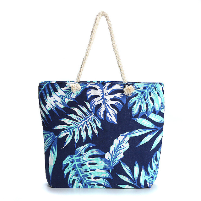 HARJOBEN White Handle Carry-all Bag Eco Shopping Tote Tropical Leaves Weekender Tote Beach Goers Tote Bag Palm Print 3
