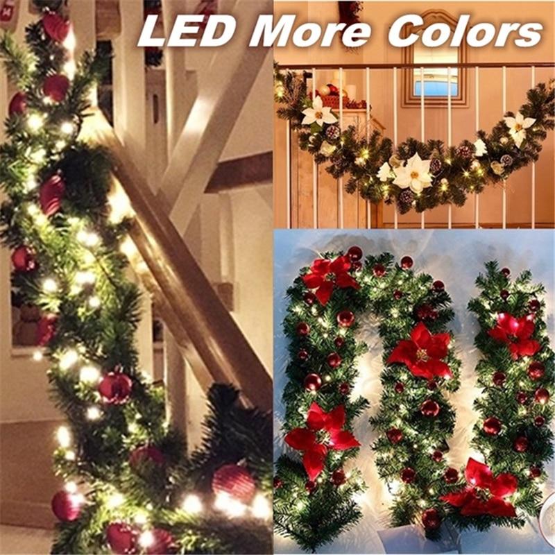 5 Colors 2.7M Christmas Garland Decoration Rattan Lights Wreath Mantel Fireplace Stairs Wall Door Pine Xmas Tree LED Light Decor