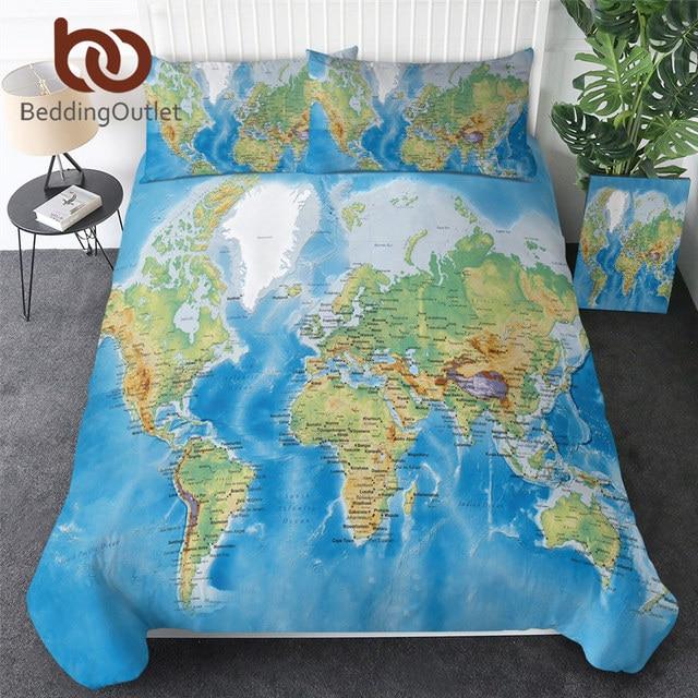 BeddingOutlet Juego de cama con mapa del mundo, funda nórdica para cama con estampado vívido azul, fundas de almohada, suave y acogedor, Textiles para el hogar, tamaño Queen, 3 unidades