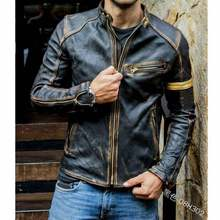 2021foreign trade European and American men's men's leather jacket men's youth stand collar punk men's motorcycle leather jacket