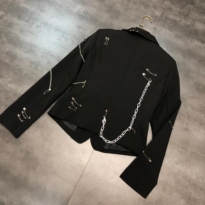 2020 Spring New Pin Chain Punk Style Small Suit Cropped Jacket Slim-Fit Suit Jacket Women High Street Black Blazer Coat Femme