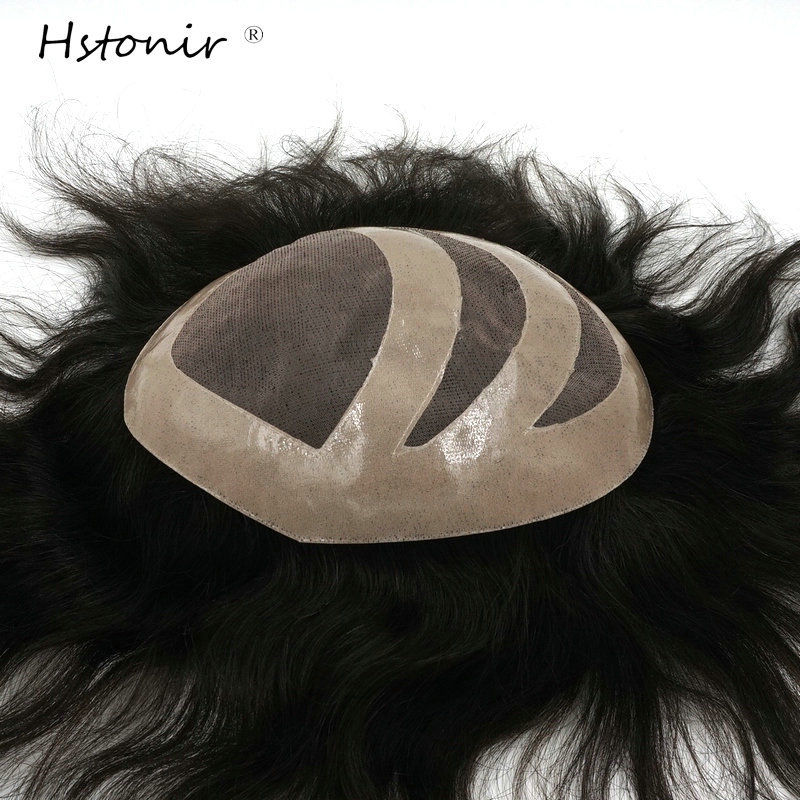 Hstonir Men Toupee Mono Lace Hair System Wig Real Indian Remy Hair Replacement H037