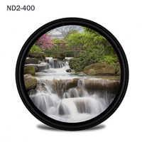 Walkingway Filtro de cámara de ND2-400 ajustable Ultra delgado 49/52/55/58/62/67/72/77/82mm filtro de densidad neutra óptico profesional