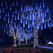 8 Tubes Led Fairy Lights Christmas String Lights Street Garland Outdoor Festoon Curtain Halloween Decoration Meteor Shower Light