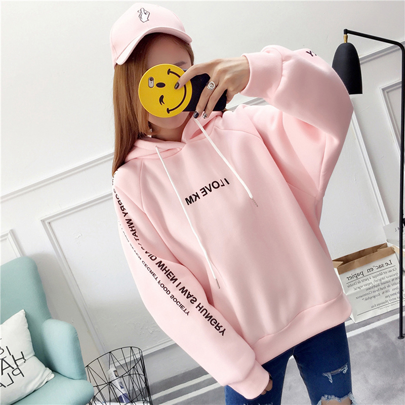 Women Autumn Thick Loose Sweatshirt Harajuku Letters Printed Casual Hooded Hoodies Pullover Female Thicken Coat New