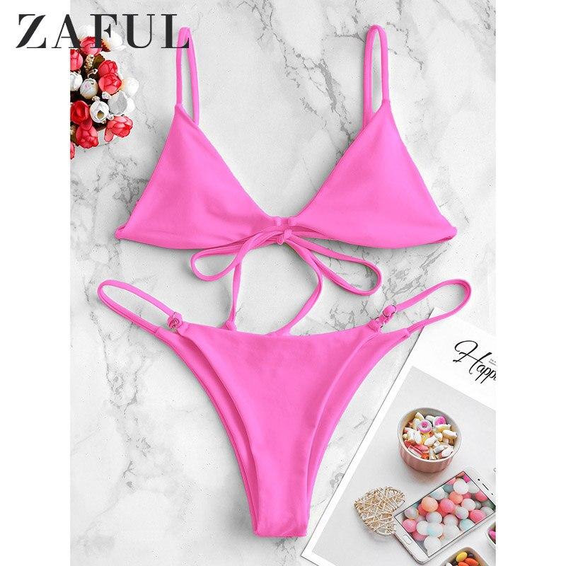 ZAFUL Bikini Cami High Leg Low Waisted Bikini Swimwear 2020 Bathing Suit Swimwears Padded Spaghetti Straps Sexy Bikinis Set