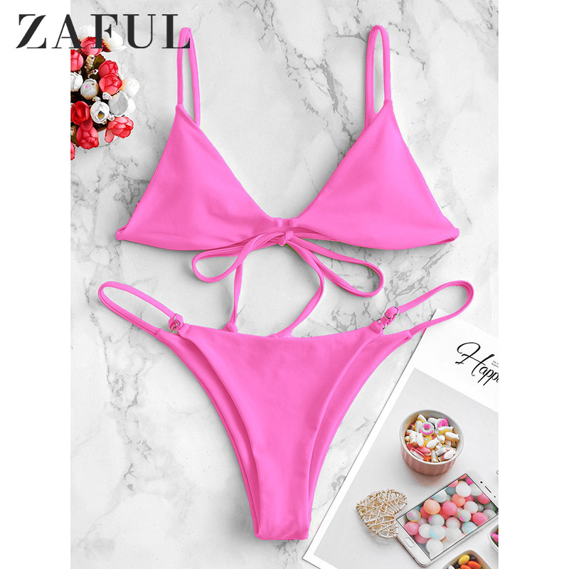 ZAFUL Bikini Swimwears Women Cami High Leg Low Waisted Bikini Swimwear2020 Push Up Sexy Bikinis Set