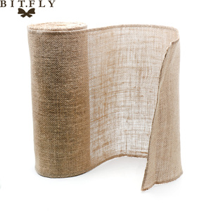 Image 4 - 1pcs Natural Hessian Jute Burlap Table Runner   Wedding Stand Arch Chair Sashes Decoration Birthday Banquet Event Party Supply