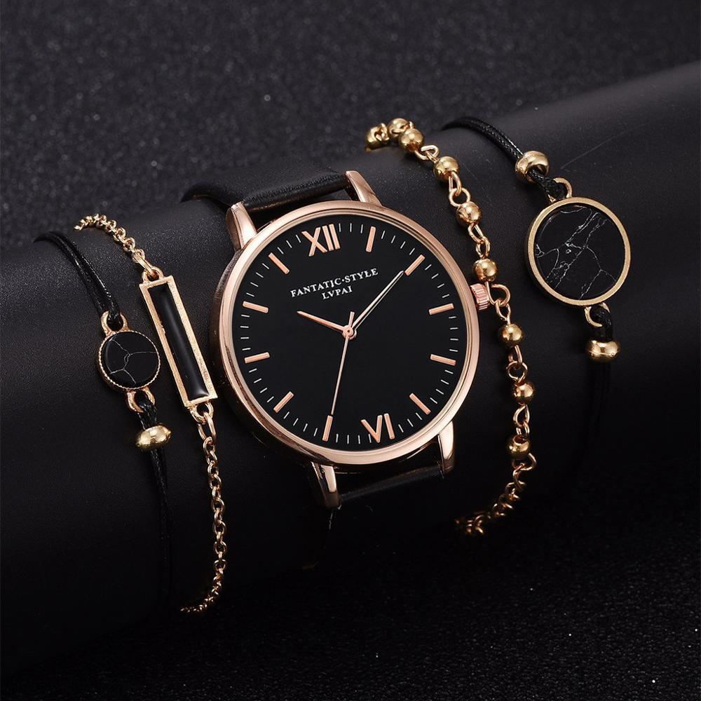 5pc/set Simple Style Leather Watches Women Fashion Watch Minimalist Ladies Casual Wrist Watch Female Quartz Clock Reloj Mujer