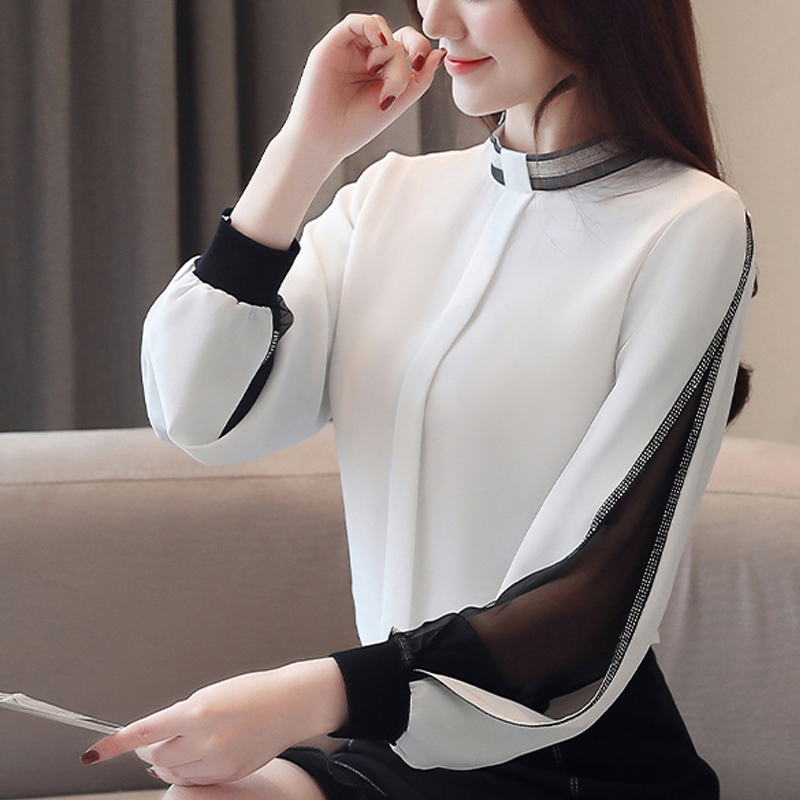 Chiffon Shirts Diamonds New 2021 Sexy Hollow out Mesh harajuku Shirts Elegant Stand Collar Long Sleeve Women Tops blusas H34D