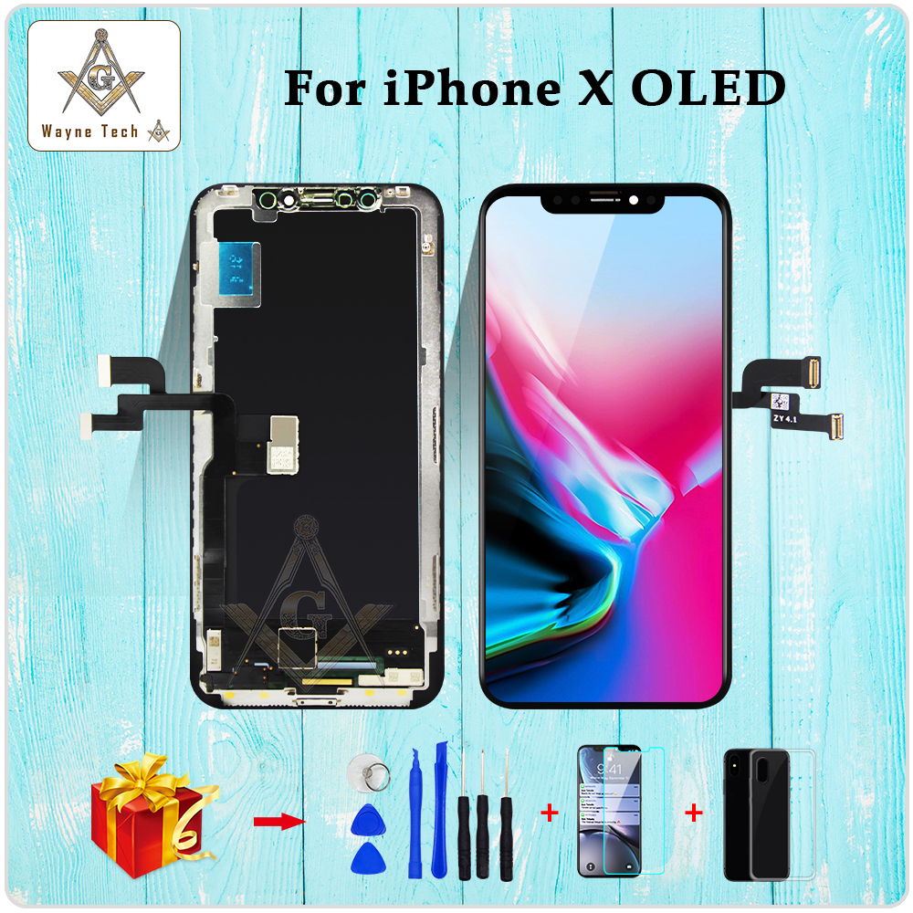 TOP OLED Quality For IPhone  X XR XS Screen With Touch Digitizer Assembly No Dead Pixel LCD Screen Replacement Display Guarantee