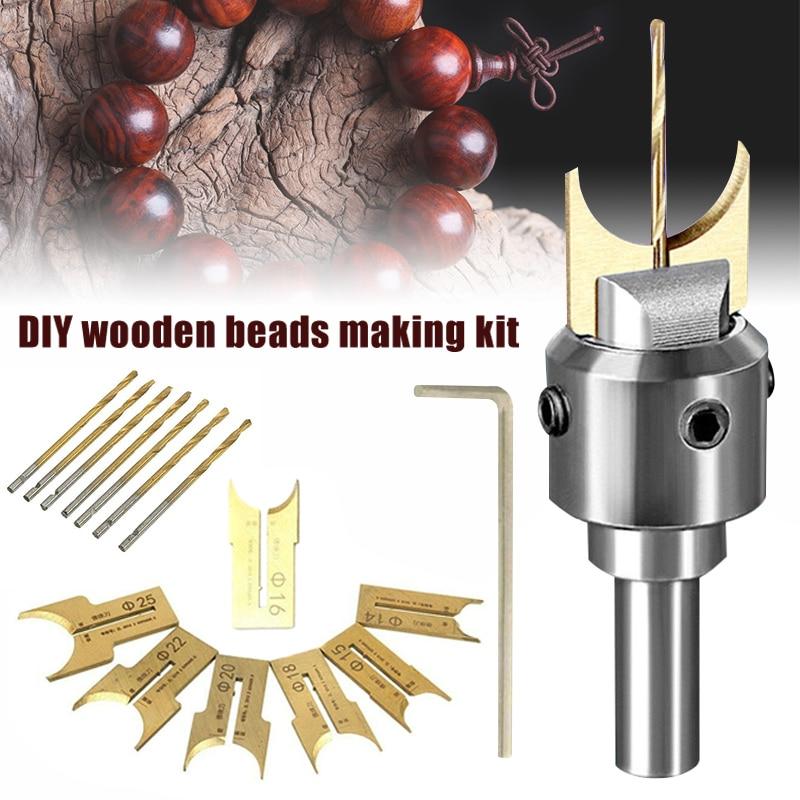 Wooden Bead Maker Beads Drill Bit Milling Cutter Set Woodworking Tool Kit J99Store
