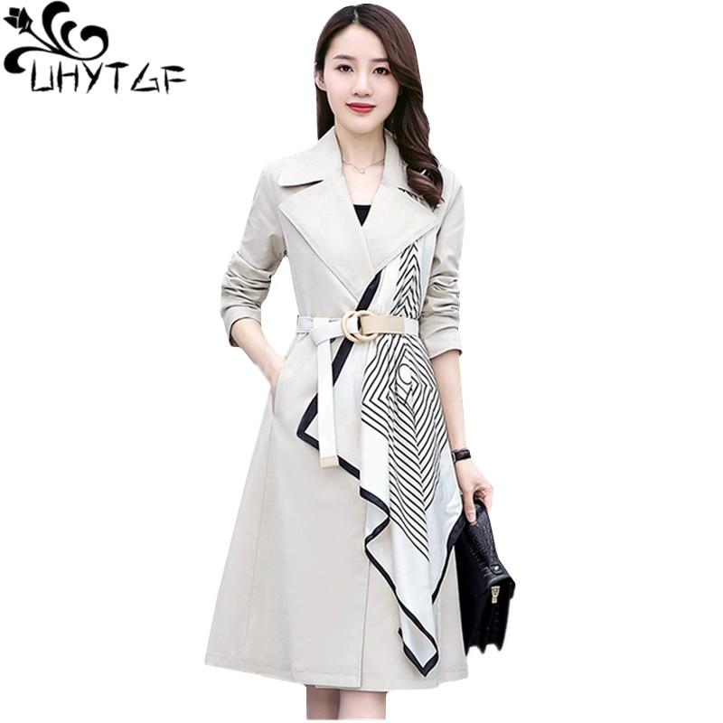 UHYTGF windbreaker women new fashion double-breasted casual autumn trench coat for women Korean loose plus size coat female 1234