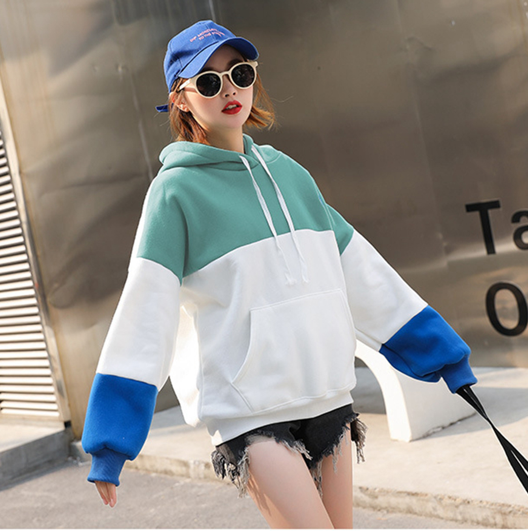Korean Winter Nice Tide Harajuku Patchwork Color Plush Hoodies Women Embroidery Wild Hooded Tops Pullover Coats Hoodie Femme