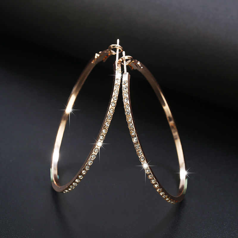 2019 New Fashion Hoop Earrings With Rhinestone Circle Earrings Simple Earrings Big Circle Gold Color Loop Earrings For Women
