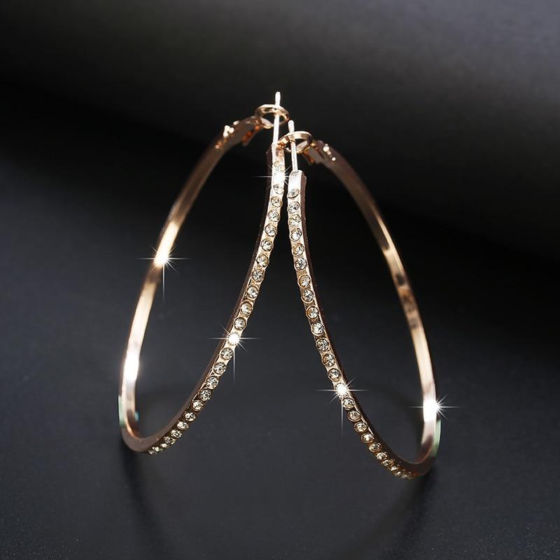 2020 New Fashion Hoop Earrings With Rhinestone Circle Earrings Simple Earrings Big Circle Gold Color Loop Earrings For Women