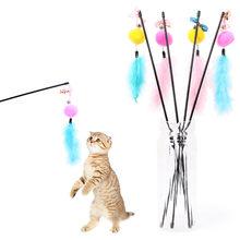 Gatinho gato teaser brinquedo interativo haste com sino e pena jogar brinquedos divertidos jouet chat pequeno suprimentos para animais de estimação fashoin