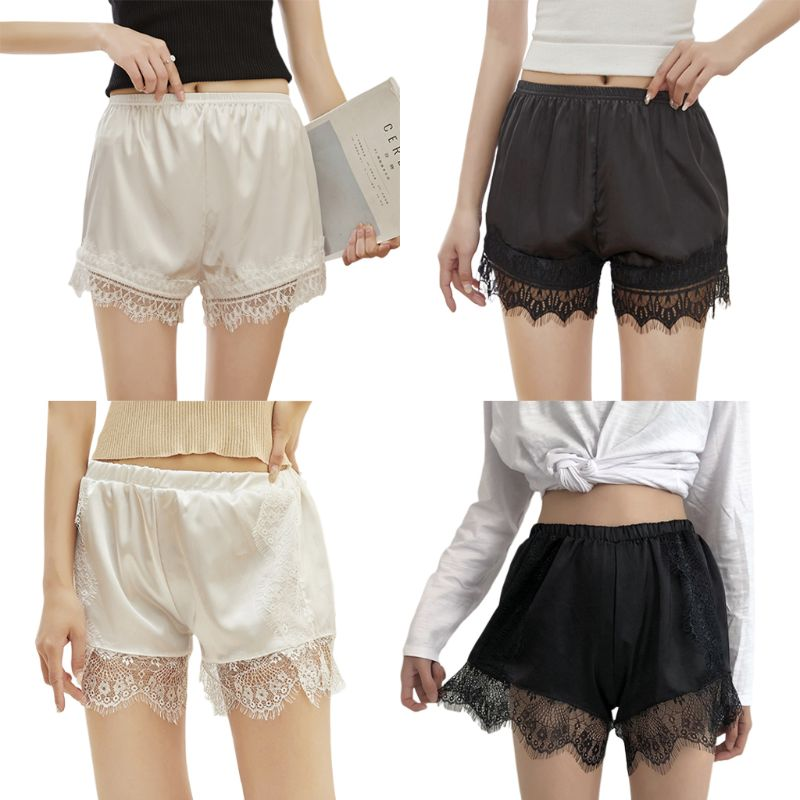 Women Imitation Silk  Solid Color Under Skirt Shorts Half Slip Eyelash Lace Trim Pajamas Loose Bloomers Underpants