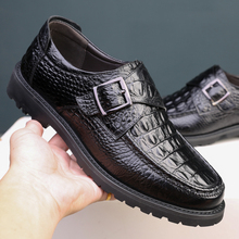 Dress-Shoes Moccasin Buckle-Strap Oxford Business Crocodile-Pattern Genuine-Cow-Leather