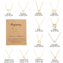 Zodiac Gold chain necklace Womens 12 constellations Pendant choker Retro romantic lover Couple card necklaces as gift