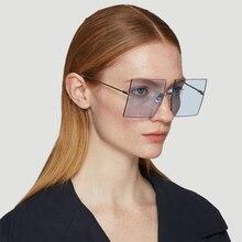 Oversized Rimless Square Sunglasses Women 2019 New Luxury Brand