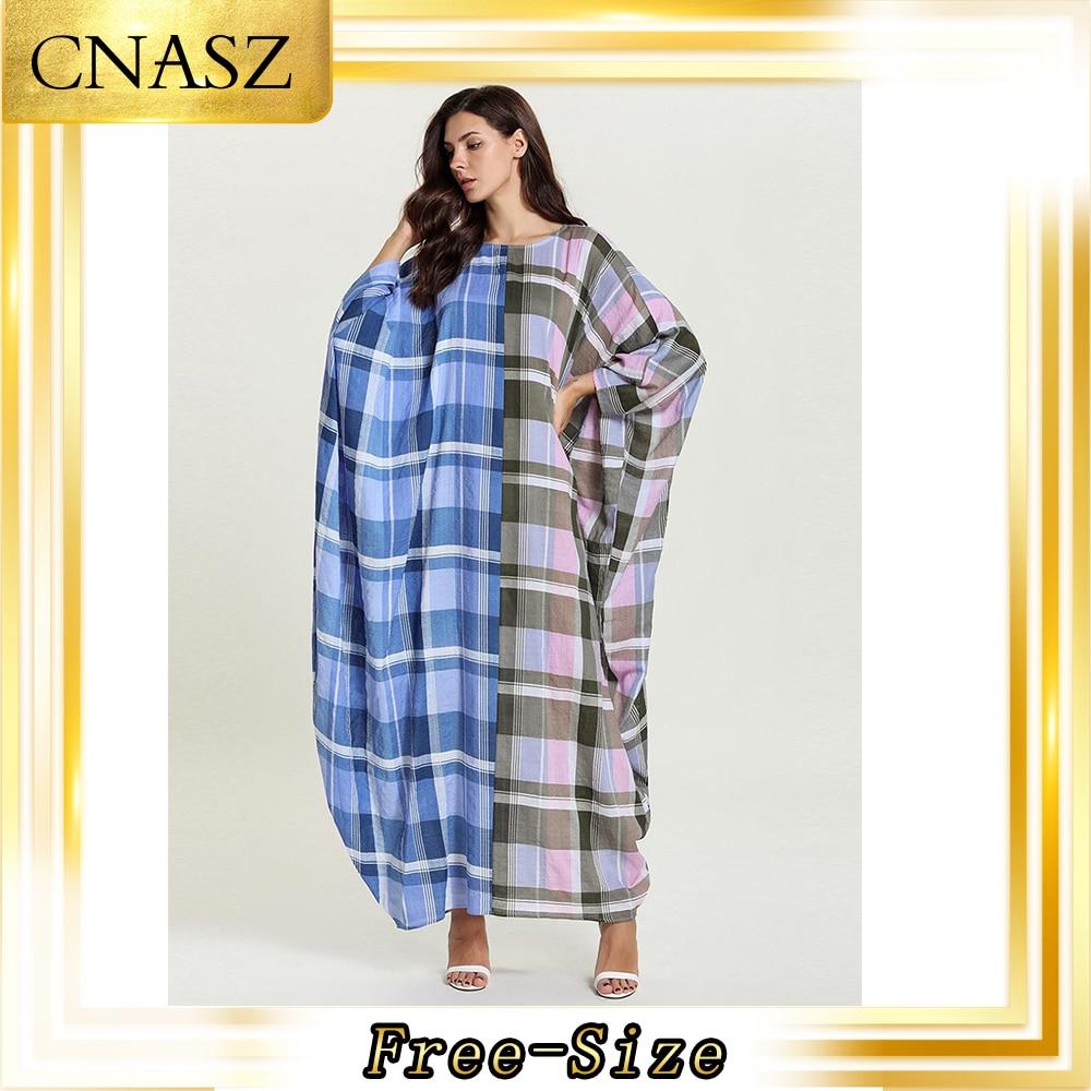 Abaya Turkish Fashion Comfortable Bat Long Sleeve Plaid Print Autumn Caftan Marocain Abaya Femme Musulman Robe Casual Dress