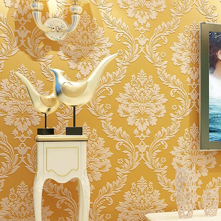 European Style 3D Nonwoven Fabric Living Room Bedroom TV Background Wallpaper Hotel Engineering Damascus Wallpaper