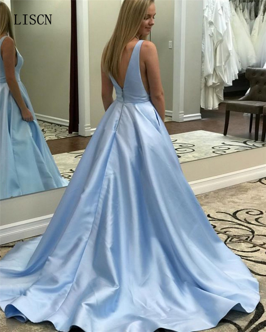 Robe de Soiree Sky Blue V Neck Simple Satin A-line   Prom     Dress   Party Backless Women Formal Gown with Pockets Best Selling Fashion