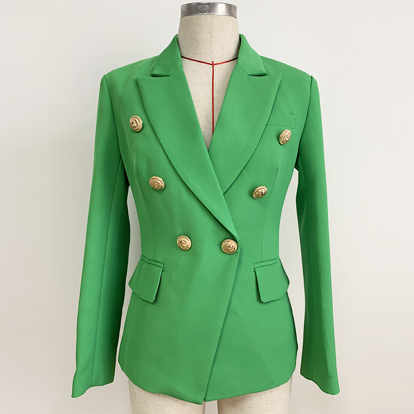 HIGH QUALITY 2019 New Baroque Designer Blazer Women's Lion Buttons Double Breasted Classic Slim Fit Blazer Jacket Emerald Green