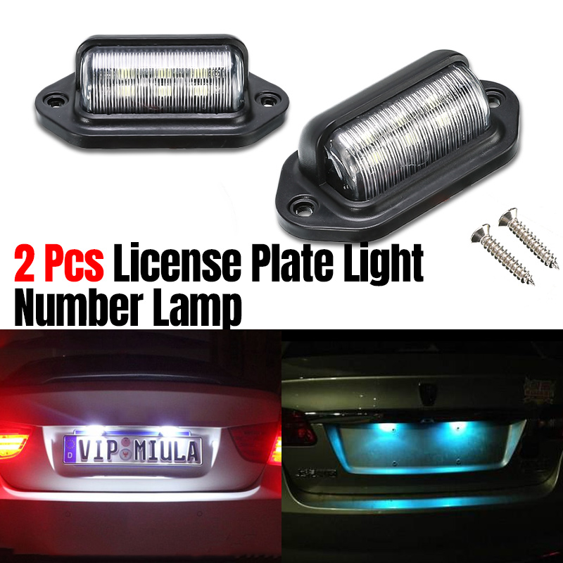 2 Pcs Waterproof 6LEDs Number Plate Light 12V License Plate Light Lamp Car Boat RV Truck Tail Light Trailer Step Lamp White