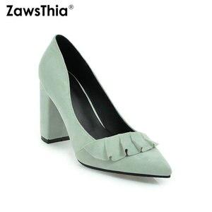 Image 2 - Zawsthia 夏秋春の女性靴ブロックハイヒールクラシックオフィスポンプ黄色ミントグリーン女性ハイヒール作業靴