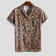Men's Shirt Leopard Printed Chest Pocket Turn Down Collar Short Sleeve Loose Sexy Streetwear Shirt chemise homme hawaiian shirt pocket design letter printed turn down collar short sleeves shirt for men