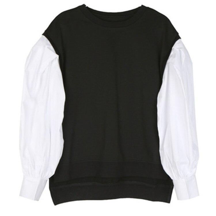 TVVOVVIN 2019 automne vêtements femme blanc lanterne chemise à manches longues Patchwork col rond pull à capuche femme L069 - 5