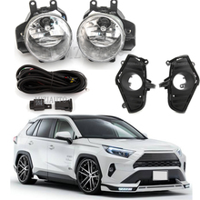 цена на 12V Car Fog Light Assembly Kit For Toyota RAV4 2018 2019 2020 DRL Front Bumper Lamp Halogen bulb Fog Lights