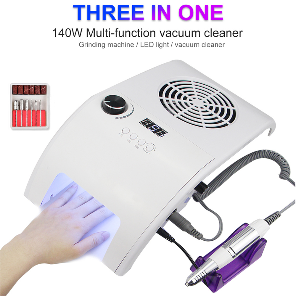Multifunctional 3in1 Silent 35000RPM Manicure Machine Powerful Vacuum Cleaner 48W UV LED Nail Lamp Quickly Dry All Nail Polish