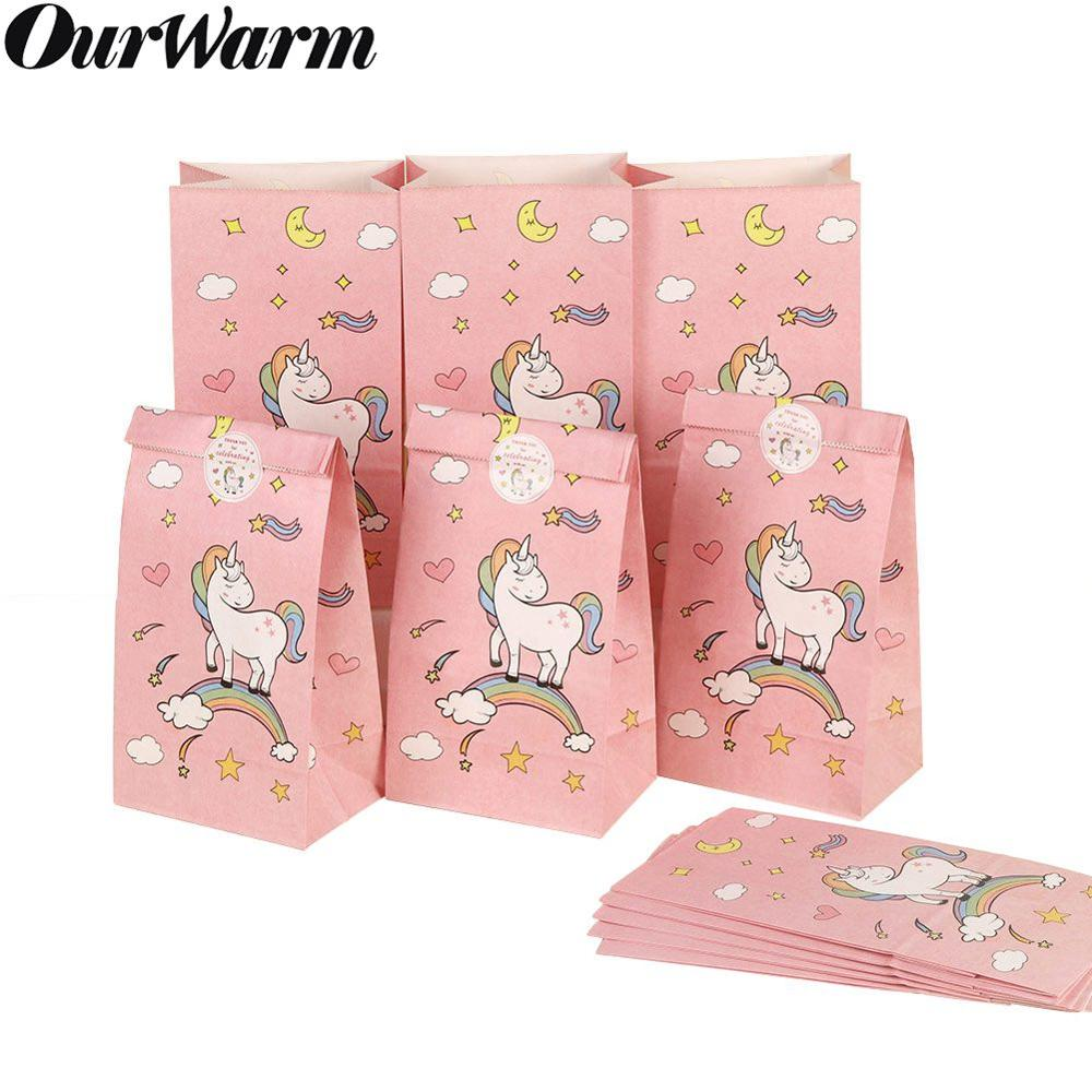 OurWarm 12pcs Unicorn Gift Paper Bags Kids Birthday Baby Shower Party Decorations Baby Birthday Party Supplies