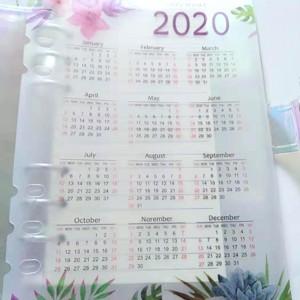 2020 Year Calendar Cute School 6 Holes PP Index Divider For Girl Diary Binder Weekly Planner Notebooks Stationery,A5 A6
