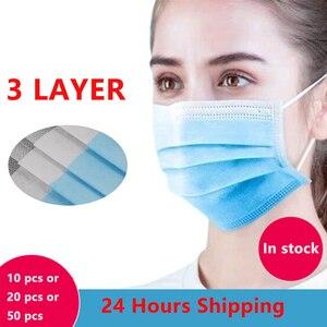 3-слойная противозагрязняющая маска, Пылезащитная маска для лица, одноразовый Пылезащитный фильтр, маска для рта, Нетканая эластичная Ушная...