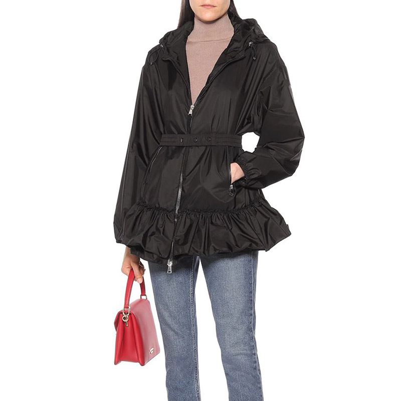 Женская Весенняя куртка с длинным рукавом, куртка с капюшоном и поясом, роскошная летняя Солнцезащитная куртка с оборками и кулиской, пальт...