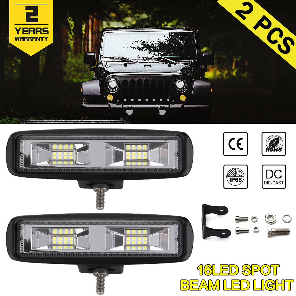 6 inch 12V 48W <font><b>16</b></font> <font><b>LED</b></font> <font><b>Light</b></font> Bar <font><b>Work</b></font> Lamp Flood Beam Bulb Car Driving Fog Lamps For Jeep Truck Tractor Boat Trailer image