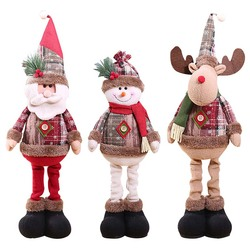 Christmas Decoratios For Home Dolls Xmas Tree Decor New Year Ornament Reindeer Snowman Santa Claus Standing Doll New Year Gift 1