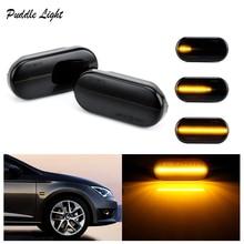 2Pcs Car LED Dynamic Side Marker Turn Signal Light For SEAT Ibiza 6L Cordoba Toledo Leon Signals Indicator Skoda Octavia