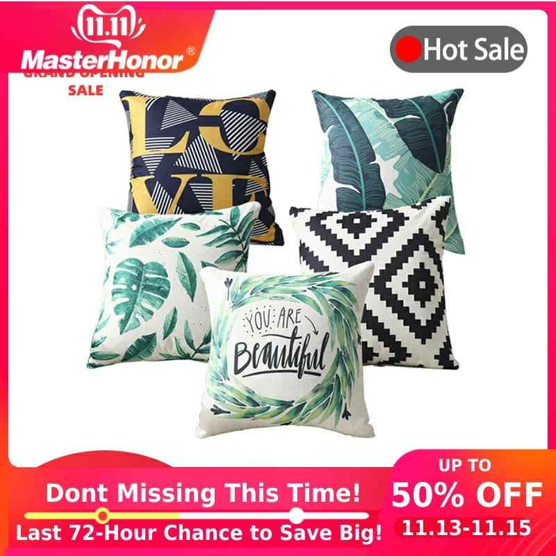 MIHE Tropical Plants Leaf Green Leaves Letter Cushion Covers Printed Geometric Pillow Cover Decorative 45x45cm Linen Pillowcase