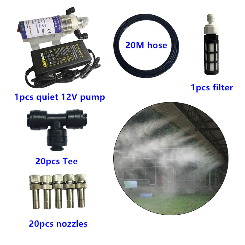 S296 DIY 10/20M Garden water mist spray with Pump and Power nebulizer for flowers plant greenhouse garden irrigation and misting