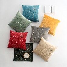 45x45cm Luxury Thicken Velvet Sun Flower Rhinestone Nail Bead Pillow Case Handmade Pearl Decoration Craft Sofa Cushion Cover