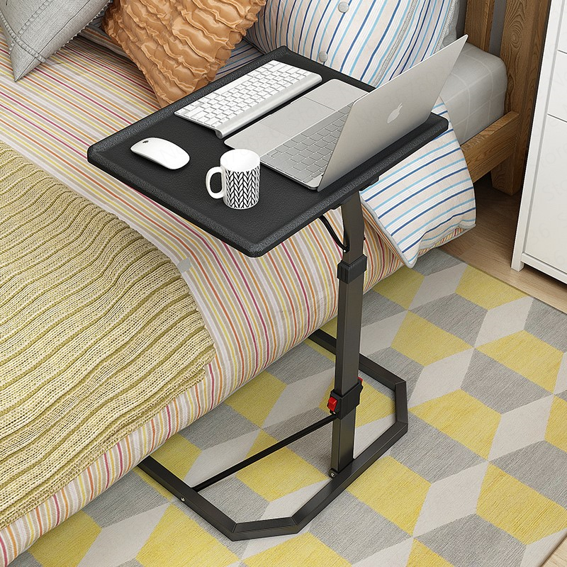 Height Adjustable Laptop Lazy Bed Desk Simple Lifting Folding Table Bedside Table  U-shaped Carbon Steel Feet Computer Table,W