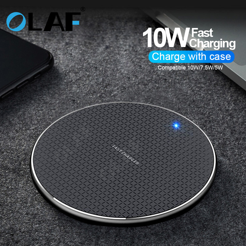 OLAF 10W Wireless <font><b>Charger</b></font> QC3.0 USB Phone Fast Charging Pad for Samsung <font><b>Galaxy</b></font> <font><b>S9</b></font> S8 Plus Note 9/8 Fast Charge with Night Light image