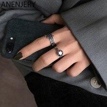 ANENJERY – bague couronne en argent Sterling 925 pour femme, anneau ouvert en Zircon, Style Punk thaïlandais, bijoux de fête
