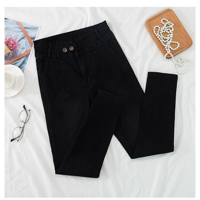 JUJULAND Jean For Women Black Jean High Waist Jeans Woman High Elastic Stretch Jeans Female Washed Denim Skinny Pencil Pant 8112