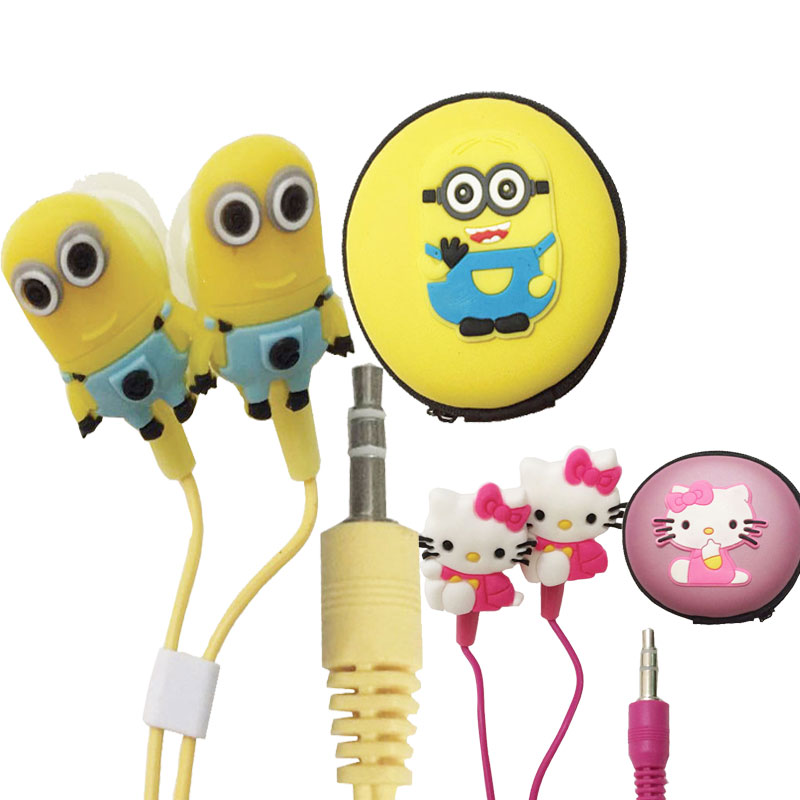 Neue cartoon kopfhörer <font><b>minions</b></font> Despicable Me Hallo Kitty headset 3,5mm jake stereo für Smart Handys image